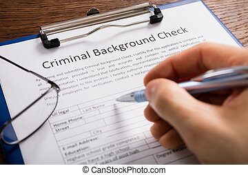 vorm, persoon, toepassing, vullen, achtergrond, crimineel, controleren