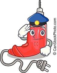 vorm, politie, elektrische boor, spotprent
