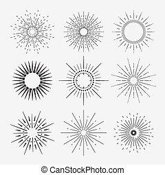 vorm, ray., deco, geometrisch, anders, sunbursts, kunst, set, verzameling, licht, negen, ouderwetse , shapes.