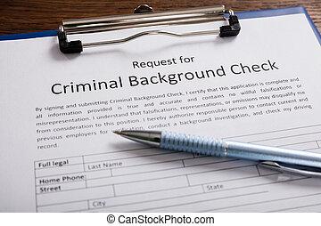 vorm, toepassing, pen, achtergrond, crimineel, controleren