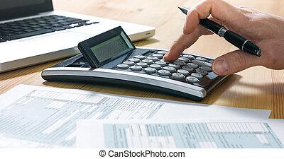vorm, vullen, zakenman, 1040, belasting