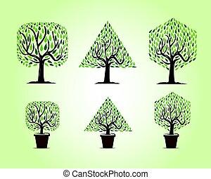 vormen, anders, set, bomen