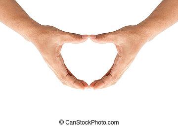 vormen, handen, menselijk hart
