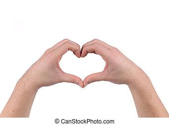 vormen, heart., handen