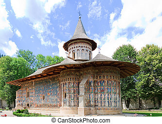 Voronet Monastery in Romania. Built in 1488 in only 4 and a...