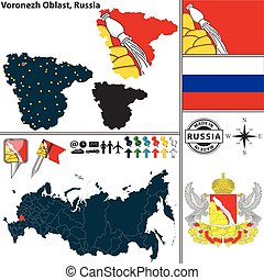 Vector map of Voronezh Oblast with coat of arms and location on Russian map