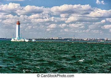 Vorontsov lighthouse in Odessa harbor, Ukraine.