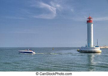 Vorontsov Lighthouse in the Gulf of Odessa, Ukraine