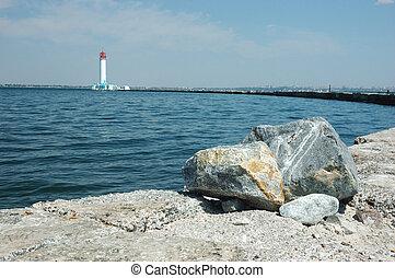 Vorontsov Lighthouse in the Gulf of Odessa,Black sea, Ukraine