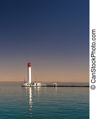 Vorontsov Lighthouse in the Port of Odessa, Ukraine -...