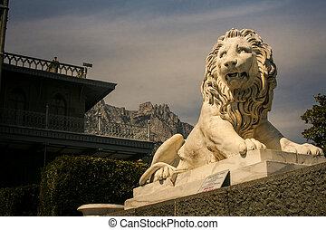 Vorontsov Palace Marble Lion Sculpture Crimea