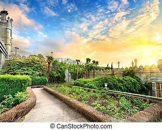 Vorontsov park - Vorontsov garden in the town of Alupka,...