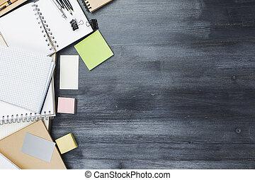 vorräte, arbeitsplatz, buero, kreativ