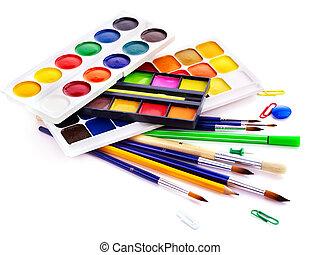 vorräte, schule, kunst