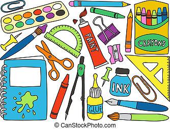vorräte, schule, zeichnungen