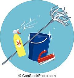 vorräte, werkzeuge, putzen, ans