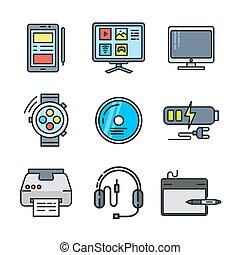 vorrichtung, farbe, satz, ikone