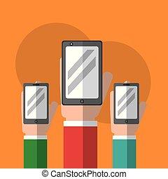 vorrichtung, smartphones, technologie, halten hände