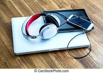 vorrichtungen & hilfsmittel, digital, kopfhörer, hölzern, ...