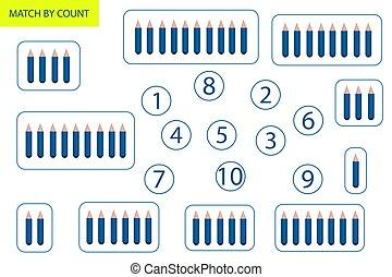 vorschulisch, mathematik, zählen, objects., task., mathematik, logic., spiel, children., wie, lernen, zahlen, viele
