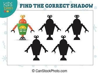 vorschulisch, roboter, erzieherisch, schatten, mini, reizend, spiel, finden, karikatur, kinder, korrekt