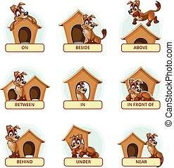 vorschulisch, vektor, illustrieren, englisches , prepositions, karikatur, hund, posen, verschieden, place., kinder, abbildung