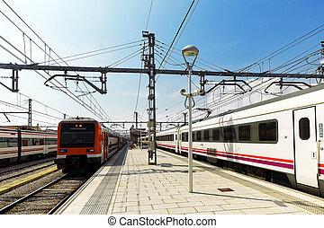 vorstädtisch, gleiszug, an, der, gleise, stantion.