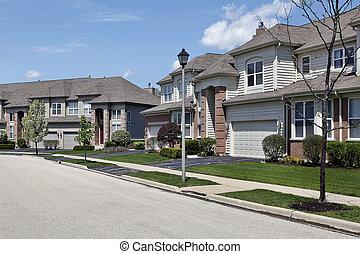 vorstädtisch, nachbarschaft, reihenhaus, komplex