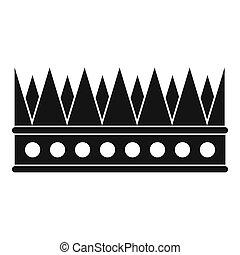 vorstelijk, pictogram, stijl, kroon, eenvoudig