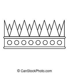 vorstelijk, pictogram, stijl, kroon, schets