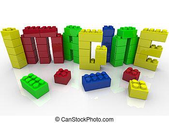 vorstellen, wort, in, spielzeug, plastikblöcke, idee,...