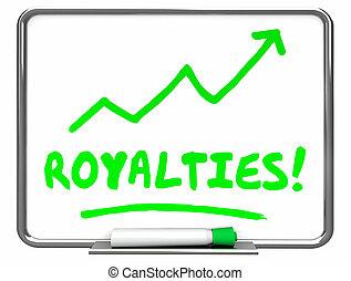 vorstendommen, commissies, rijzen, illustratie, verhogen, raderen, plank, inkomen, 3d