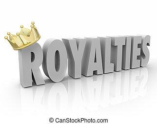 vorstendommen, woord, goud, procent, kroon, commissie, inkomsten, aandeel, 3d