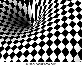 Monochrome 3D illustration, background of a vortex. Physics concept. Computer generated render, image.