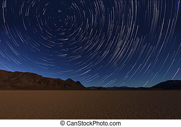 Night Exposure Star Trails of the Sky in Death Valley...