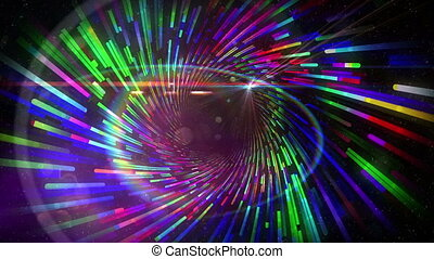 Vortex pattern with glowing lights - Digital animation of...
