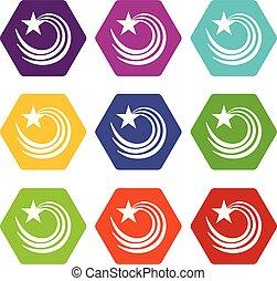 Vortex star icons set 9 vector