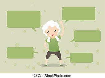 vortrag halten , senioren, bubbles., trainieren
