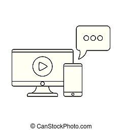 vortrag halten , smartphone, blase, monitor, edv