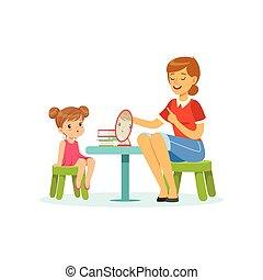 vortrag halten , und, sprache, spezialist, unterricht, kleines mädchen, korrekt, aussprache, von, letters., kind, vortrag halten , klingen, entwicklung