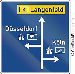 German direction sign announcing ramps onto motorways.
