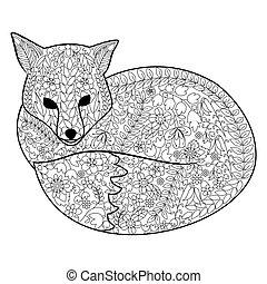 vos, kleurend boek, voor, volwassenen, vector
