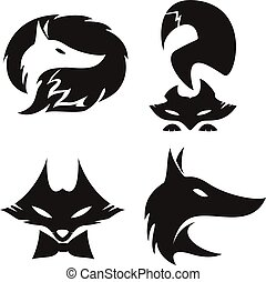 vos, silhouettes, set, vector.