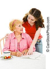 votación, -, ayuda, con, absentee, papeleta