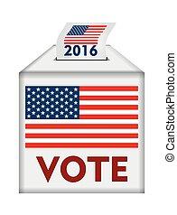 votación, concepto, con, bandera estadounidense