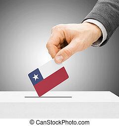 votación, concepto, -, macho, insertar, bandera, en, urna electoral, -, chile