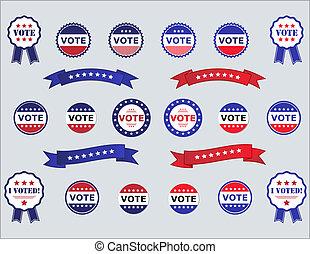 votación, insignias, y, pegatinas