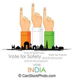votación, mano, india, señal