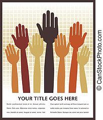 votación, manos, design.