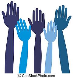 votación, o, hands., alcanzar